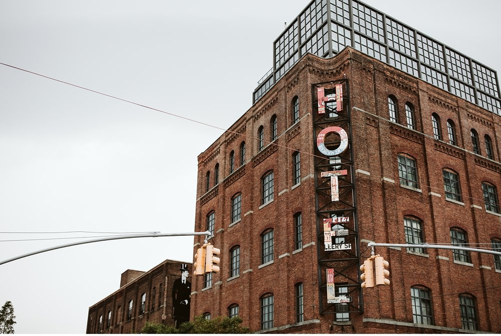 Historical front of the Wythe Hotel in Brooklyn, NY