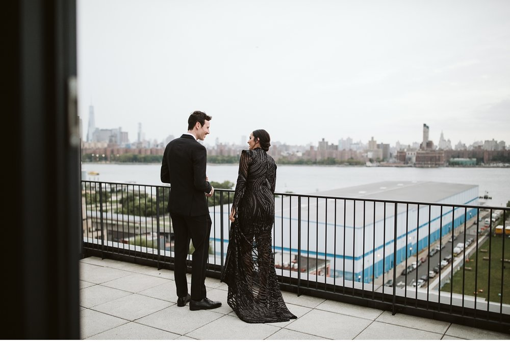 First look on balcony at the Wythe Hotel in Brooklyn, NY