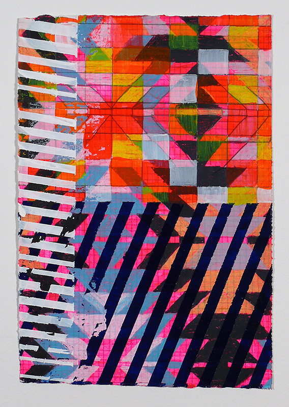 "N Y13#01, 11"" X 7.5"", mixed media on paper, 2013 SOLD pillows at neon vintage"