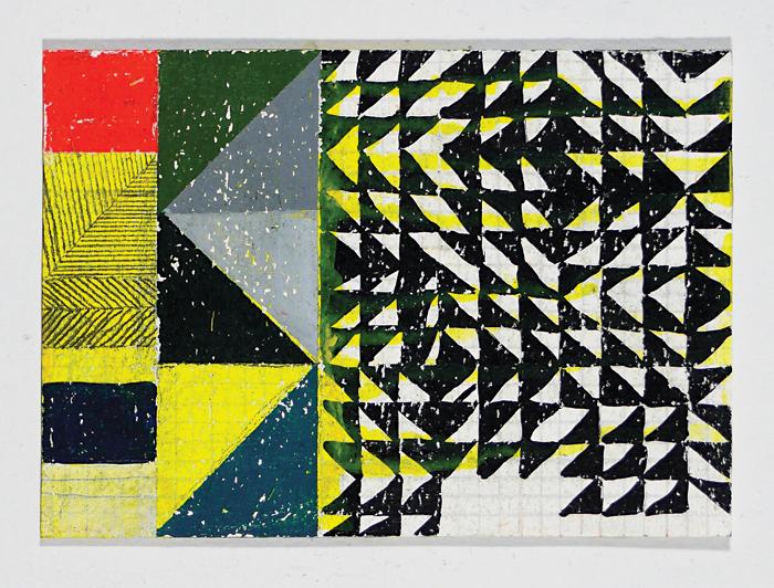 """NY12#04,5"""" x 7"""",mixed media on paper,2012 SOLD"""