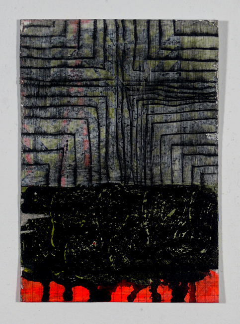 "N Y12#07, 7"" x 5"", mixed media on paper, 2012, SOLD"