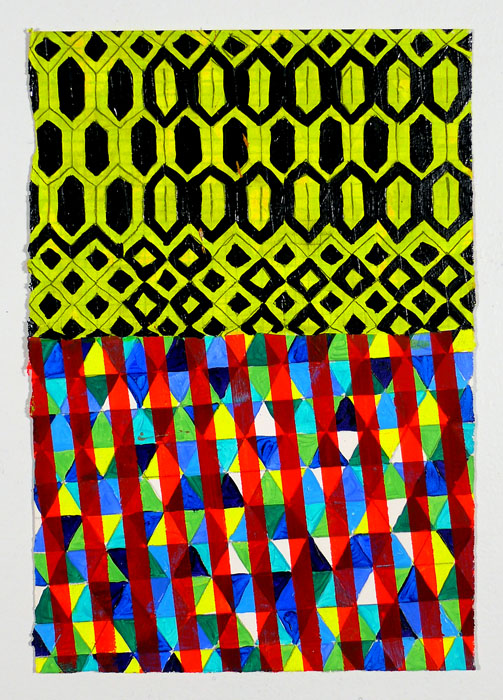"N Y12#15, 11"" X 7.5"", mixed media on paper, 2012  available at Etsy   prints at Art.com   textiles at Spoonflower"
