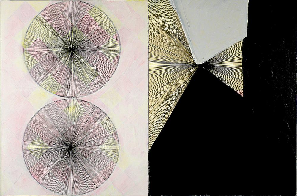 """NY11#10, 16"""" X 24"""" - 2 pieces, mixed media on panel, 2011"""