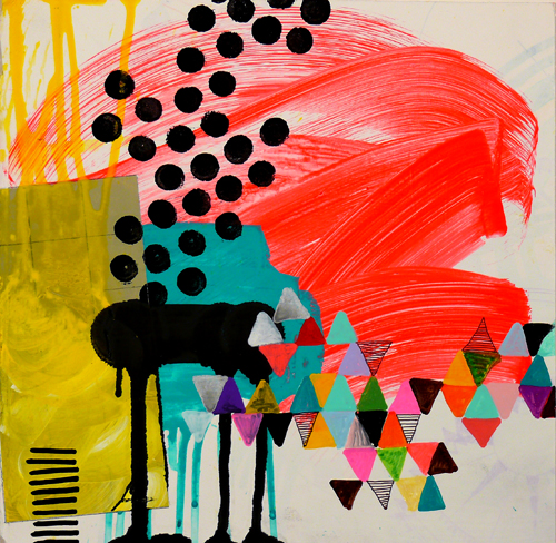 "N Y10#10, 10"" x 10"", mixed media on paper, 2010, SOLD"