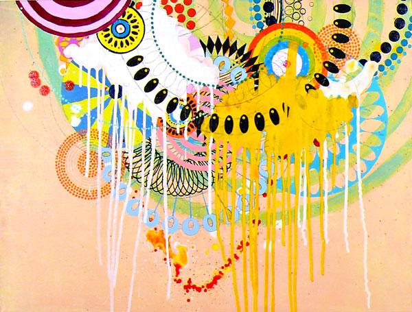 """NY0919, 18"""" x 24"""", mixed mediums on canvas, 2009"""