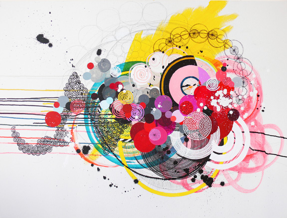 "ny.08.#14, 	  30"" x 40"", 	 mixed media on canvas, 	 2008 SOLD"