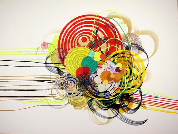 """NY0813, 30"""" x 40"""", mixed media on canvas, 2008"""