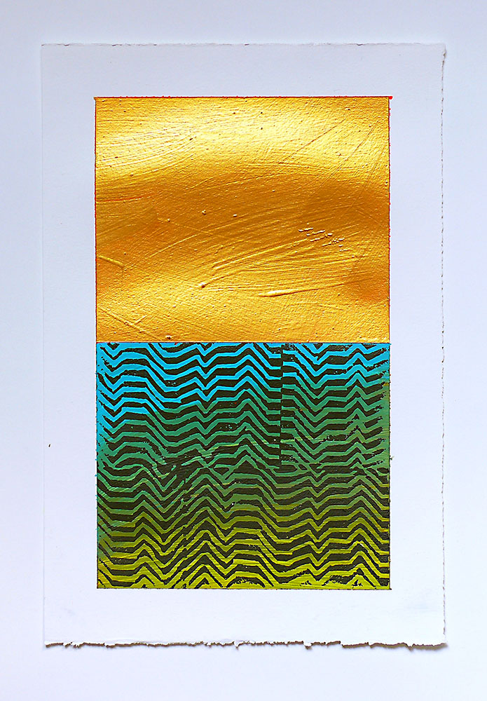 "NY13#1404, 11"" X 7.5"", mixed media on paper, 2013  SOLD check out how I made the monoprints  here"