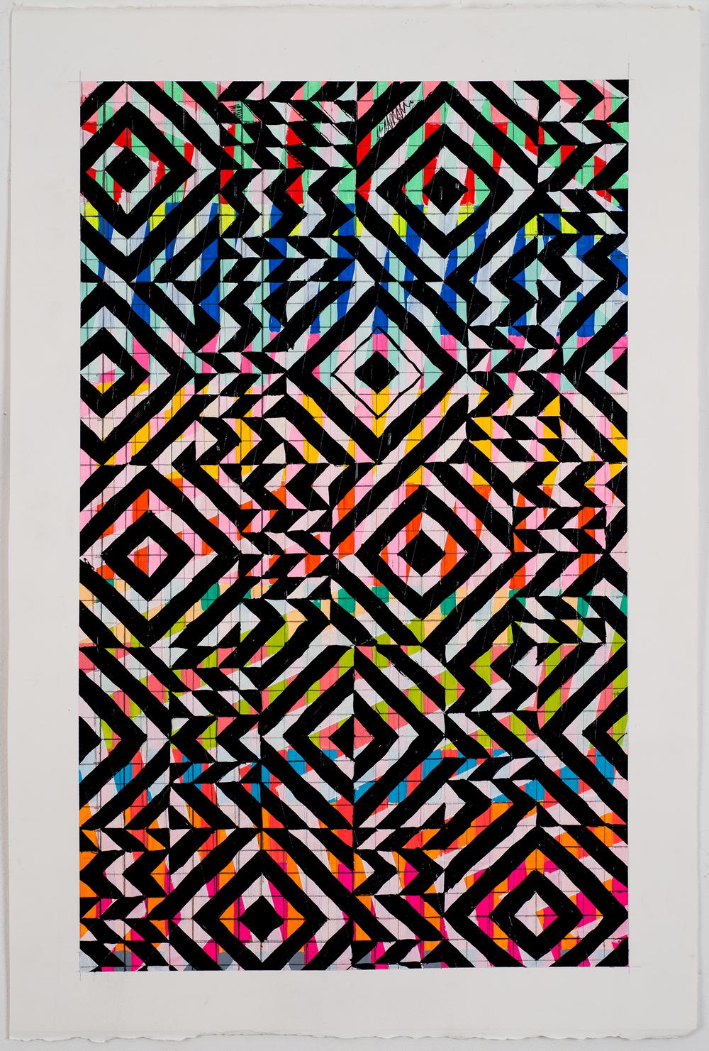"""NY1672, 22"""" X 15"""", acrylic on paper, 2016"""