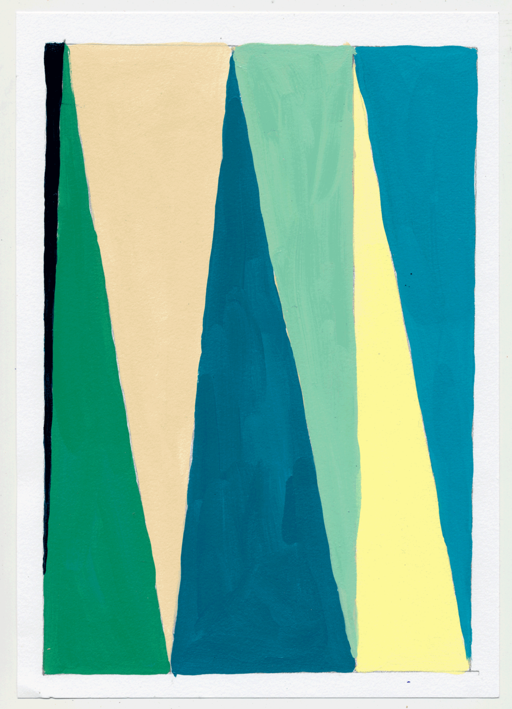 "NY17#25 10"" X 7"", acrylic on paper, 2017 SOLD  again with color studies! 3 sets of 3. using a primary color & its' complement to create subtle variations & muted colors."