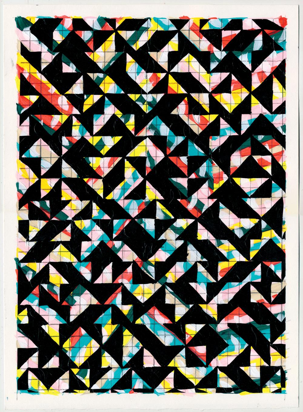 """NY1709, 15"""" X 11"""", acrylic on paper, 2017"""