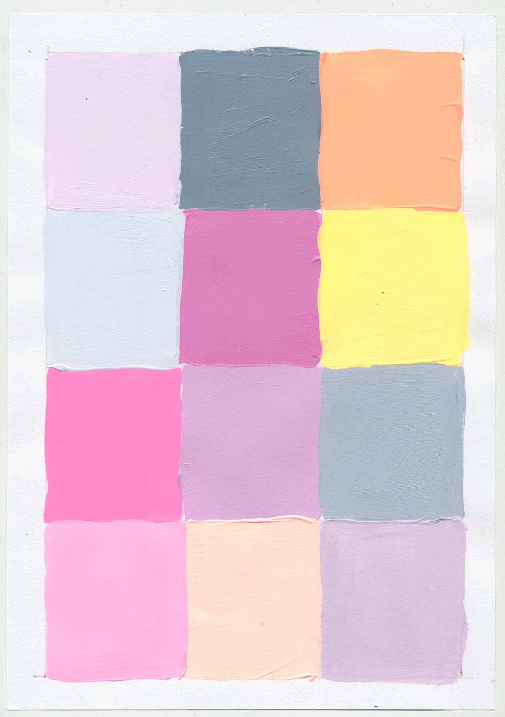 "NY1746 10"" X 7"", acrylic on paper, 2017  available on Etsy   12 little squares to help figure out the intricacies of pink, yellow & blue. there's NEVER an end to  figuring it out,  cuz you don't. PLAY!"