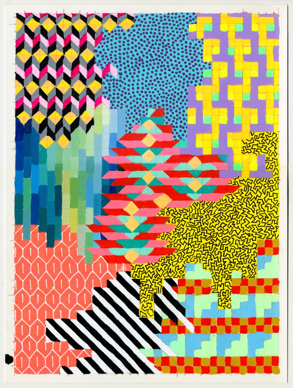 """NY1851, 12"""" X 9"""", acrylic on paper, 2018"""