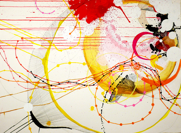 "NY0733,  mixed media on paper, 30""X22"", 2007, SOLD"