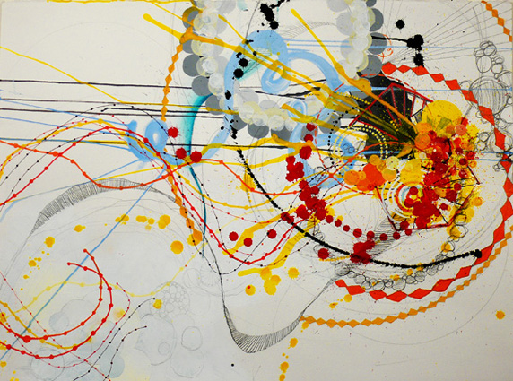 "NY0734, mixed media on paper, 30""X22"", 2007, SOLD"