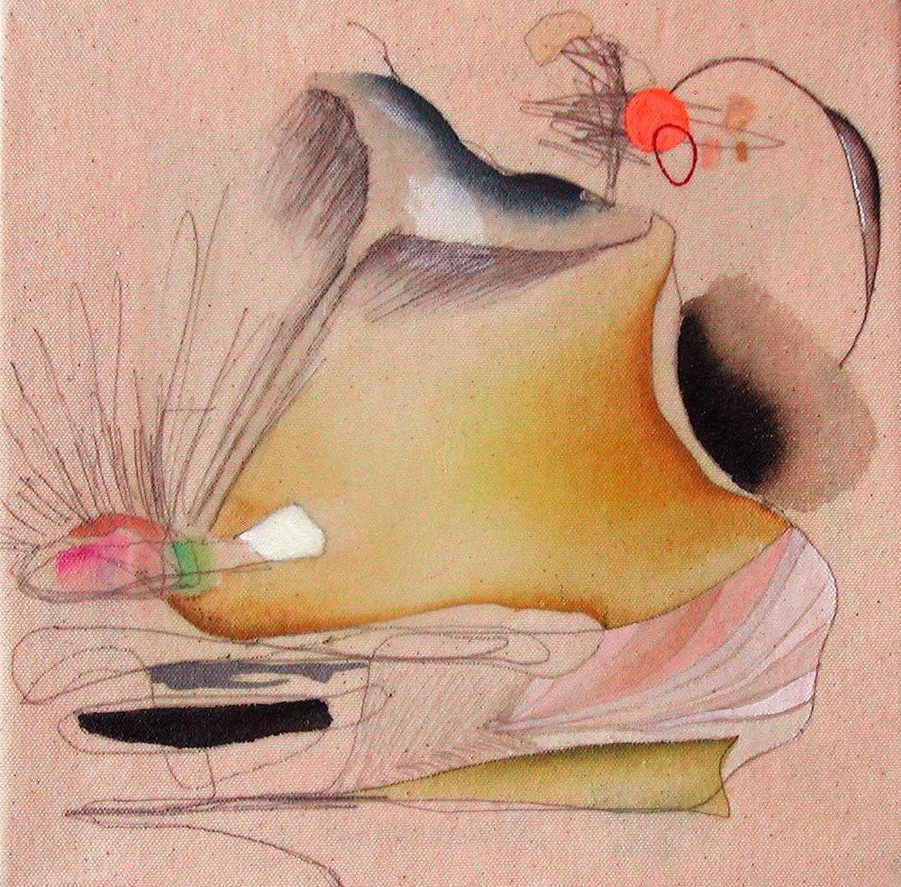 """NY0537, 10"""" X 10"""", mixed media on raw canvas, 2005"""