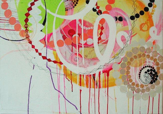"""NY0720, 19"""" X 20"""", mixed media on canvas, 2007"""
