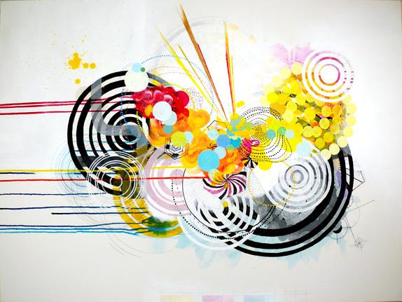 """NY0807, 30"""" X 40"""", mixed media on canvas, 2008"""
