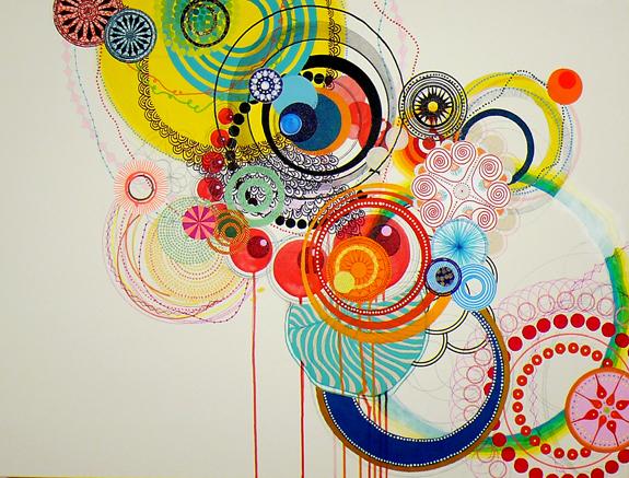 """NY0907, 40"""" x 30"""", mixed media on canvas, 2009"""