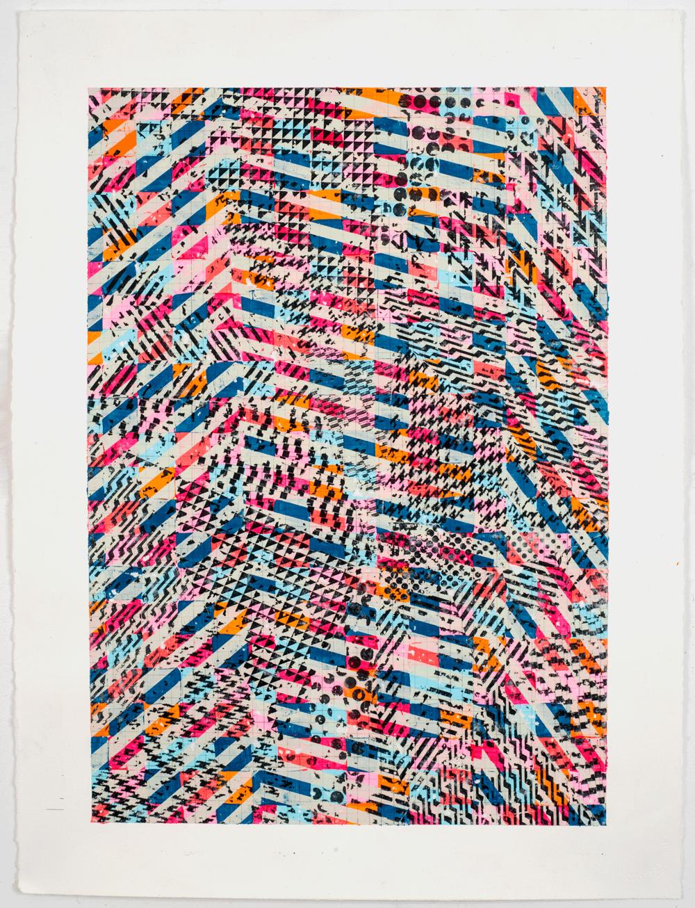 """NY1665, 30"""" X 22"""", acrylic on paper, 2016"""