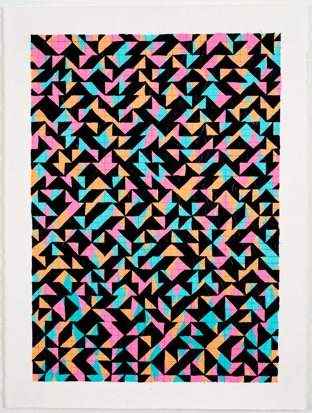 """NY1668, 30"""" X 22"""", acrylic on paper, 2016"""