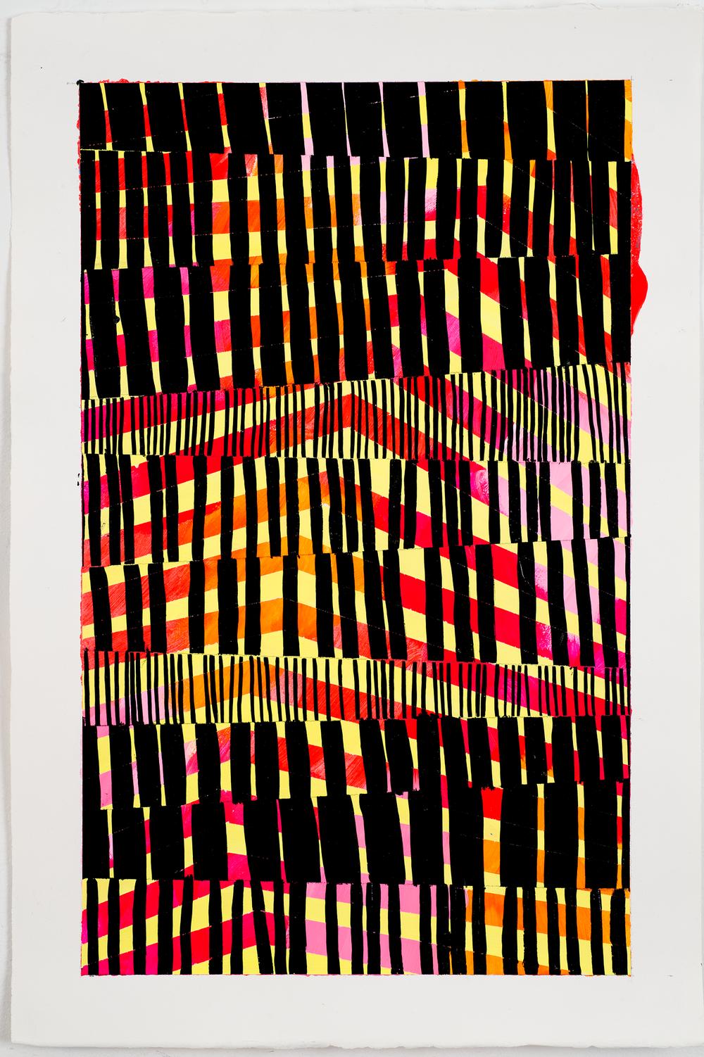 """NY1673, 30"""" X 22"""", acrylic on paper, 2016"""