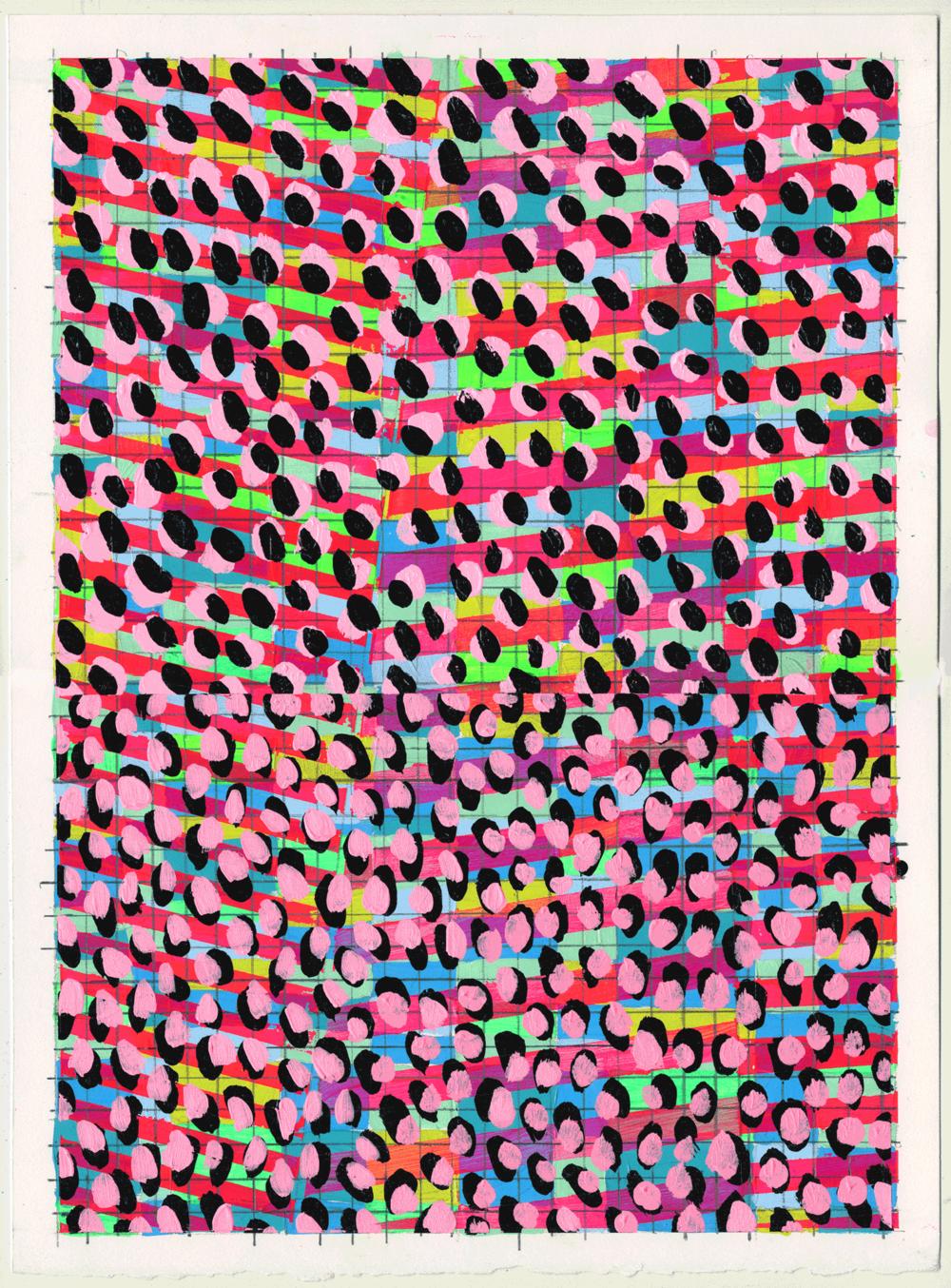 """NY1738, 15"""" X 11"""", acrylic on paper, 2017"""