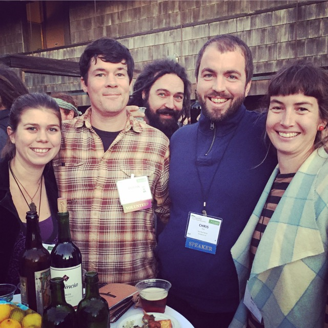 Say Hay'ers at Eco Farm 2015: Rachel, Dusty, Chris, & May (photobombed by our friend Bryce Loewen of Blossom Bluff Orchards)