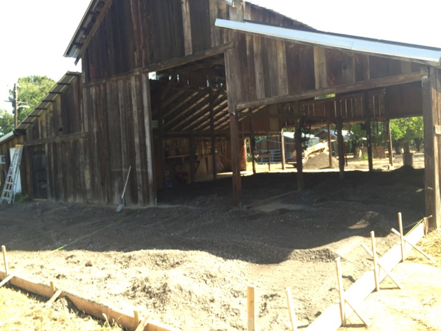 Setting concrete forms and shooting the grade in future packing barn.