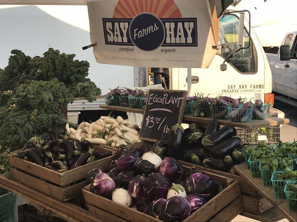 Farmer's Market bounty including the Barbarella Eggplant.