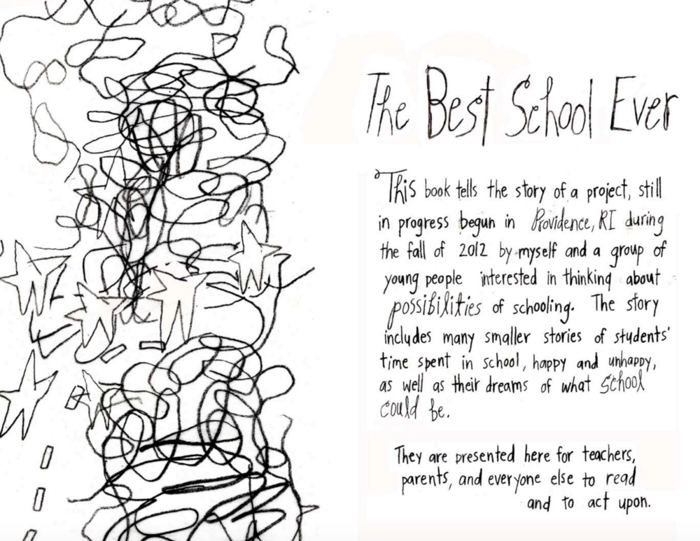 "Intro to her zine: ""Best School Ever"" -- the culmination of her Dream School research, asking children how they imagine schools could improve. Read the full zine  here."