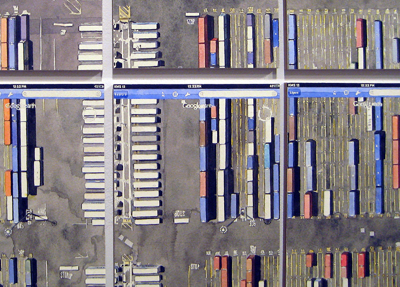 Looking Down From Above  (40.67536 N 74.14412 W) -  detail   Watercolor on paperboard    40 panels: 41 x 61 inches total, 7.75 x 5.75 inches each    2013