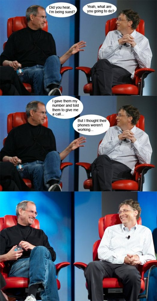 Steve Jobs tells Bill Gates that he's sued over iPhone 4. And check the response of Bill Gates. Via ReflectionOf.Me