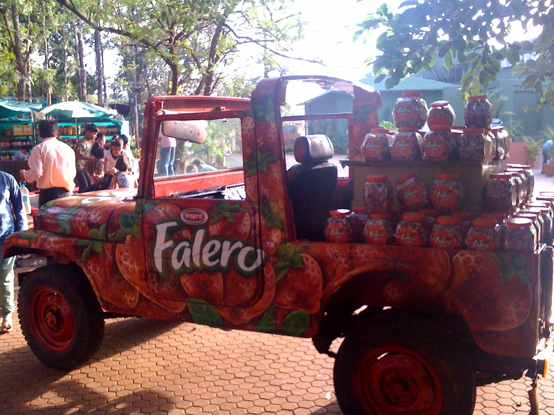 Falero strawberry candy car at Mapro in Mahabaleshwar