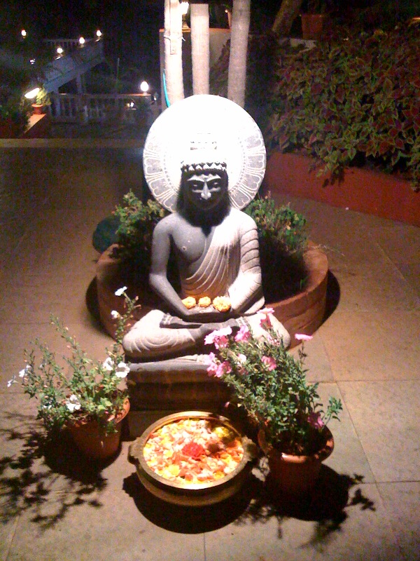 Buddha statue in Brightland resort in Mahabaleshwar.