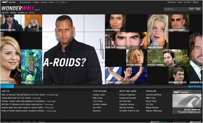 "MSN has launched Wonderwall, a site which will pull content from other MSN channels and concentrates on Celebrities and ofcourse gossip.          You can read about the launch in the Microsoft  press release  or some coverage on  All Things Digital  and  PaidContent . I think PaidContent got it right more than anybody.         Wonderwall exemplifies the latest rage in portal strategy—a site that can stand alone with its own brand while feeding from and feeding into the portal.              To most, it looks like MSN is playing catchup. Not so, argues MSN GM Rob Bennett, who contends that Wonderwall provides a single destination for content scattered across MSN, not something completely new. ""The reality is a lot of the same content and the same audience is there."" That lack of a single destination is ""why it looks like we're further behind than we probably are."" Bennett expects the promotional power of MSN to help Wonderwall catch up fast: "" I think when we turn the firehose on in different places; it's going to be a close race."" MSN also has an off-network campaign in the works.      Which is exactly what it is, a strategy to push content from and to MSN and in a way which creates value for Users (central place for all celebrity news/gossip) and Advertisers (more targetable audience at the same place). MSN has great content and if they are able to mix it well with programming and keep it fresh (and they have help in the form of BermanBraun), they will have a winner. One look at the site and you can see the enormous advertising opportunities the site provides. And as far as I understand, users and Advertisers love such stuff. For each click on the celebrity photograph on the wall you have one opportunity to show highly targetable ad. Throw in some research surveys and analysis and the site brings more value to the advertisers.      Good Job MSN."