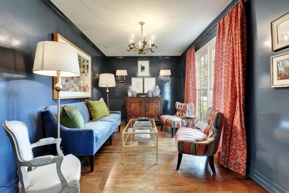 study blue sofa