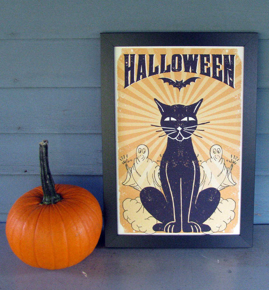 "It's Fall y'all and Halloween is just around the corner. Jump into the spirit with this fun cat and ghost art print. This a 12""x""18 digital art print, this poster is printed on heavyweight French Paper Co. Speckletone white, with archival inks. Available now in the  Shop"