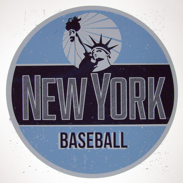 "A re-imagined look for the most storied of all of New York's sport franchises. Influenced by vintage signage of Mid -Century Americana married with the national pastime. This print is sure to add a unique touch to any baseball fans memorabilia collection.    Size: 12""x12""     Paper: French Paper Co. Speckletone White, Acid Free and Archival quality. Made in the USA     Ink: Hand Crafted Silk Screen Print- printed with water based eco- friendly archival inks    Edition Size: Limited Edition print of 50. Signed and Numbered."