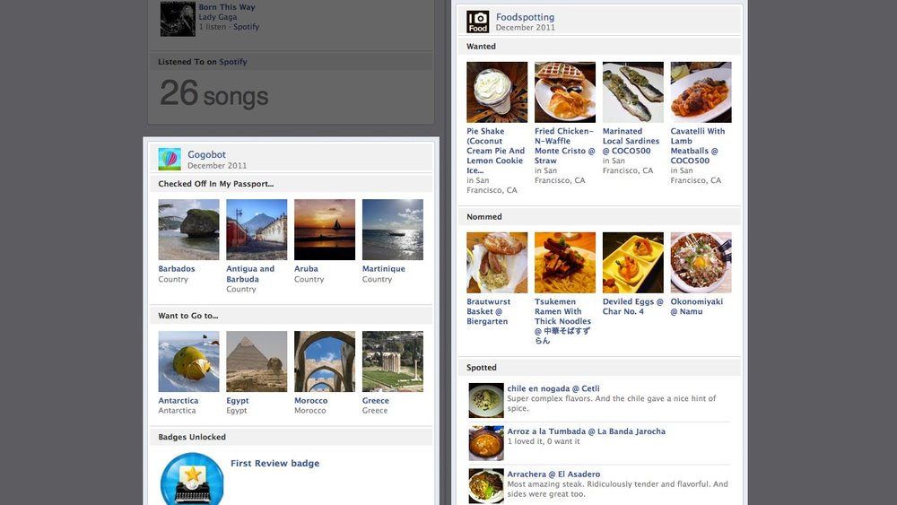 "Facebook has partnered up with sixty different startups to add their ""stories"" to Facebook Timeline, through apps that span different verticals from Food, Fashion to Travel.  Already apps like Fab.com, Foodspotting, Foodily, Ticketmaster, Pinterest, Rotten Tomatoes, Pose, Kobo, Gogobot, and TripAdvisor have signed on to share these stories — which go beyond what we're used to on Facebook. 