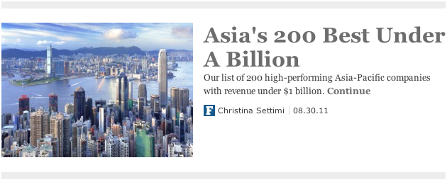 "Pacific Online named ""Asia's Best 200 Under a Billion"" by Forbes"