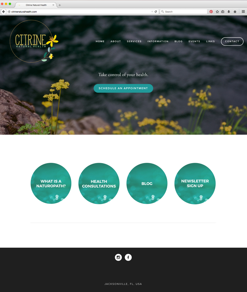Citrine Natural Health --Photography, website development, logo consultation, brand strategy, copywriting, ad design. Click the photo to view the complete website.
