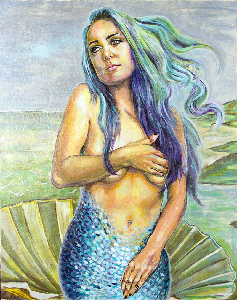Mermaids Against Misogyny Acrylic on Wood, 16x20 inches