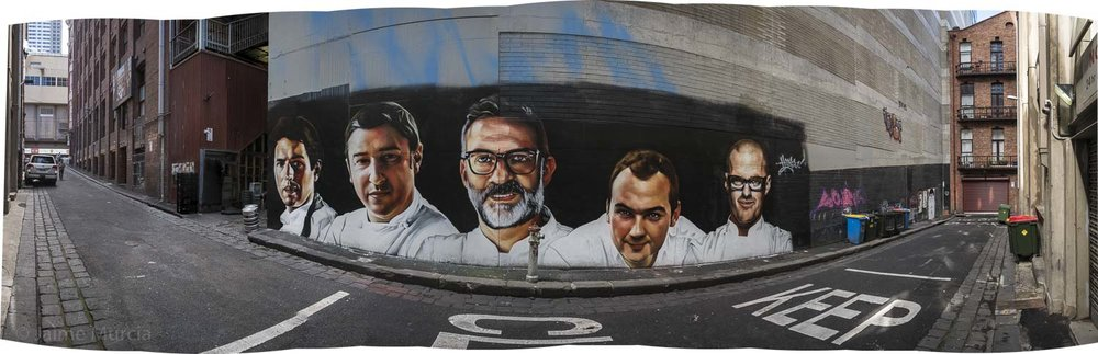 This mural was painted as part of the World's 50 Best Restaurants awards held in Melbourne 2017 and two days later (see below image)