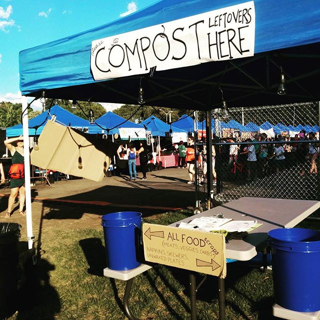 Don't forget to drop off your leftovers, skewers, napkins, etc. at the @queensnightmarket #bokashi booth! #compost #skewerstosoil #feedtheworms