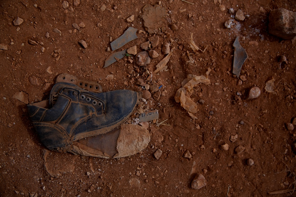 A discarded shoe at a makeshift refugee camp for Syrians in Lebanon.