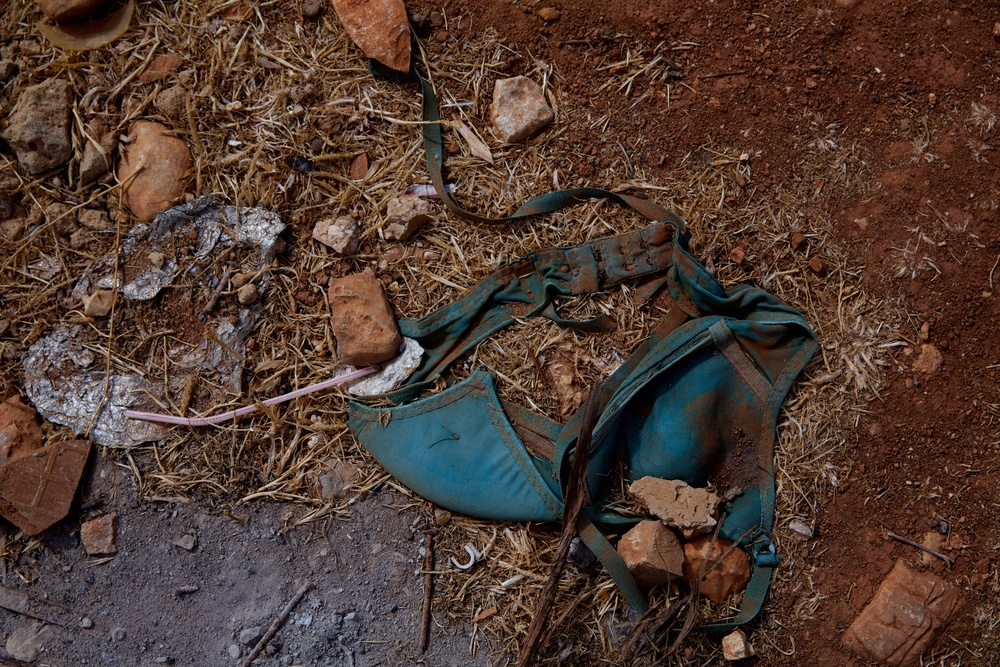A discarded bra outside a former chicken coup that now houses Syrian refugees in Lebanon.