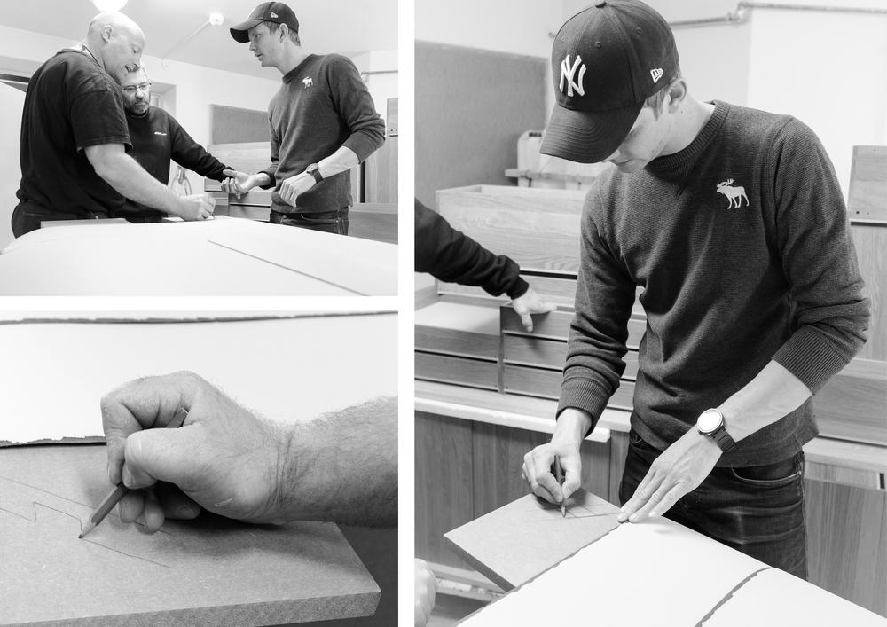 Samtaler og diskusjoner med møbelsnekker under produksjon gir et gjennomarbeidet produkt.