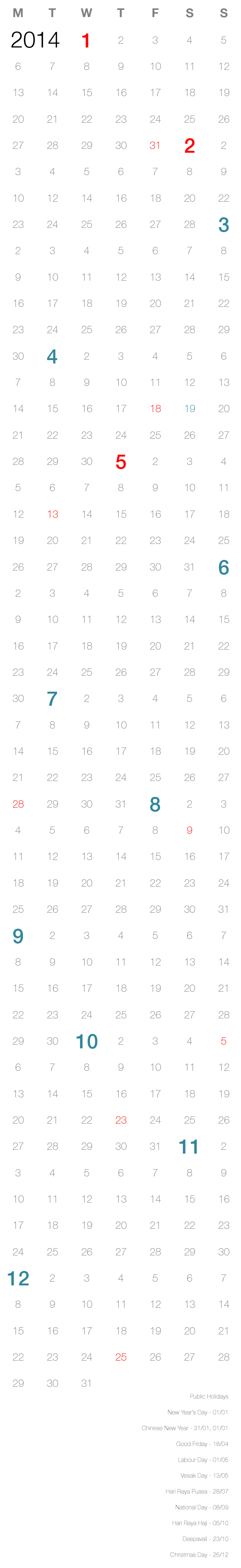 2014 Calendar 1