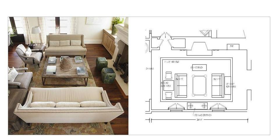 Design 101 furniture layouts living room and family for Drawing room layout design